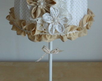 Handmade table lamp with fabric shade decorated with flowers and voulant (lamp base IKEA Rodd)