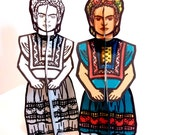 Frida Kahlo Coloring Page and Paper Doll Set - Printable Toy