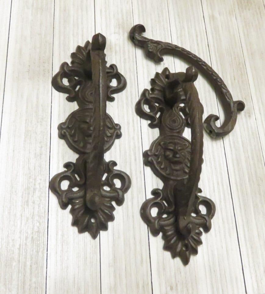 Decorating barn door handles pictures : TWO Vintage Wrought Iron Lion Head Door Handle Door Handle