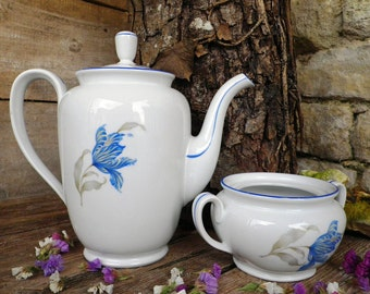 Coffee and sugar blue floral decor on white - Made in czechoslovakia MZ - CZECHOSLOVAKIA