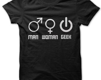 Man Woman Geek symbols t-shirt