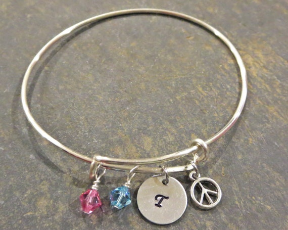 Mother's Bracelet - Personalized Bracelet - Initial Bracelet - Peace Sign Bracelet - Birthstone Bracelet - Adjustable Bangle