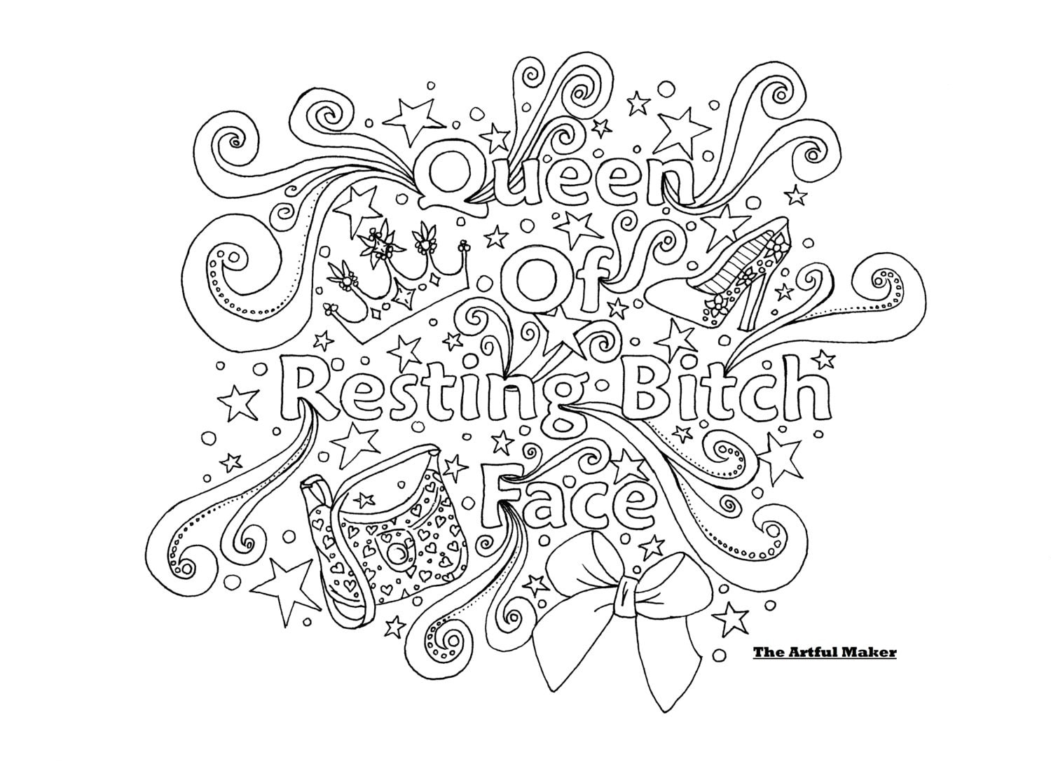 queen of resting face coloring page by the
