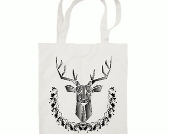 Tote bag custom - deer - black and white - gift - gifts for her - gift for him