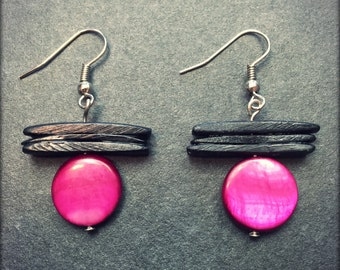Black and fuchsia earrings
