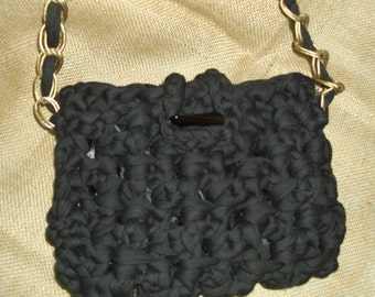 Handmade  black  crochet  handbag