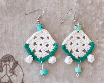 Unusual Earrings. Fashion Jewelry. Crochet Modern Jewelry. Crochet Earrings. Crochet Jewelry