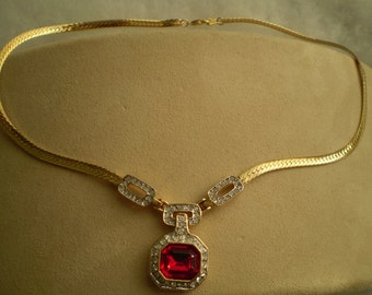 "7"" Vintage Faux Ruby and Faux Diamond Gold Necklace"