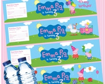 Peppa Pig water bottle label, Peppa Pig Birthday Party, George pig Water Bottle wrapper , Printable pdf, Customized, Peppa Pig Invitation