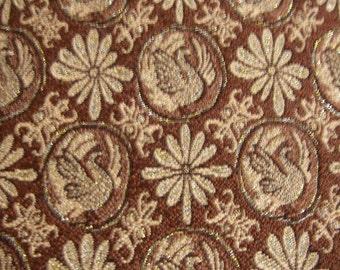 Vintage kimono/Obi/sash/chemical fiber/fabric/gold/brown/silver/embroidery/chrysanthemum/phoenix/handmade/material