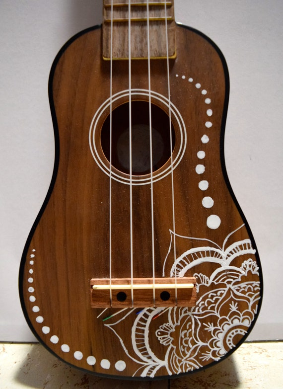 Soprano ukulele with hand painted design flower for Acoustic guitar decoration ideas
