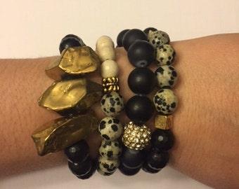 Black and Gold Bracelet Stack