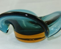 Vintage Blue Trinket Dish, Ashtray, Art Glass with Gently Waved Edges, Flat Base