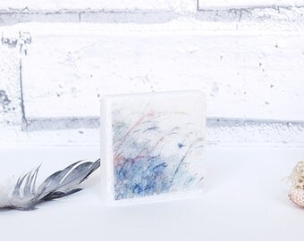 Wall Hanging, tiny bird printed marble art piece