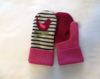 Mittens made from felted wool and cashmere