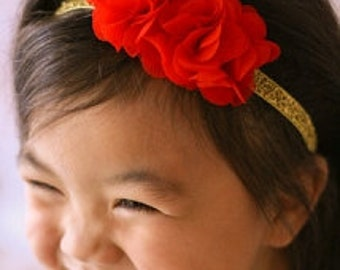 Red Flower Headband - Gold Glitter Headband with Red Flowers Easter Headband