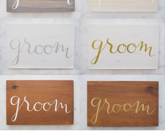 GROOM Chair and Table Signs (Multiple Colours)