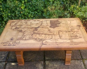 Lord of the Rings Tolkien Middle Earth Map Handmade on Large Rustic Coffee Table Wood Burned using Pyrography
