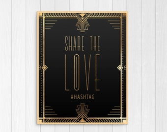 Printable wedding hashtag sign black and gold decor art for Decor hashtags