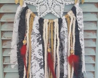 ohemian Dream Catcher//Dream Catcher// boho//wedding decor//baby shower//home decor//black gold &red