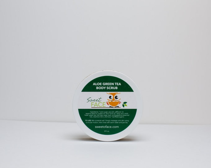Acne Fighting Exfoliating Green Tea Aloe Body Scrub 8oz.