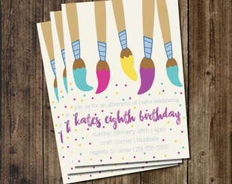 Printable! Craft or Paint Kids Birthday Party Invitation