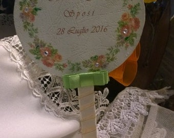 Customizable Wedding hand fan with names and date of the bride and groom