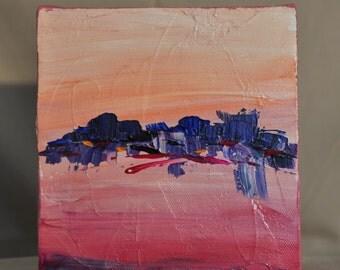 "6"" x 6"" Small Painting, Abstract painting, Contemporary art,happy,birthday,purple,sunset,sunrise,interpretive,art,joy,surprise,gift"