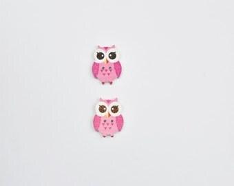 2 Pink Owls Buttons - Wooden Buttons - Scrapbook Buttons - Pink Button - Notions, Embellishment, Craft Supplies, Flat Back Buttons
