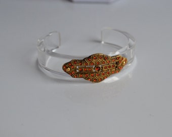 Vintage Art Deco Revival Clear Lucite Cuff Bracelet with Orange Red Rhinestones Pave in Brass