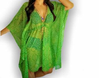 green Beach coverup, Swimsuit Coverups, Beach cover up, green kaftan, Beach Cover-up, Handmade, Honeymoon, Vacation, Resort, beach Tunic