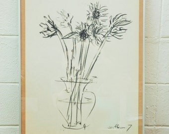 Sunflower #7, Charcoal drawing on paper, Minimal, Drawing without ego