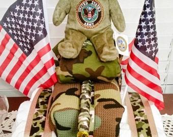 Military themed diaper cake