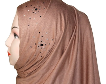 "Snowflakes on Brown Jersey Hijab ""Touch of Kuwait"""