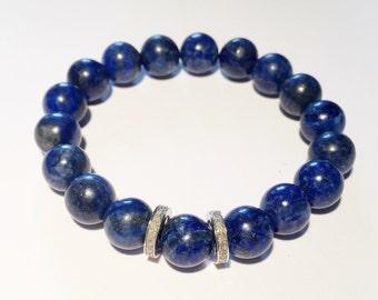 Real diamond bracelet Diamond and gemstone bracelet Blue lapis bracelet 0,44 ct genuine diamond bracelet Beaded blue bracelet Lapis gemstone