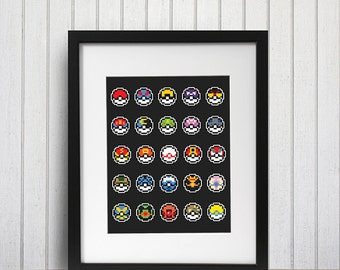 Pokemon 8 Bit Pokeball Sprite Poster Print