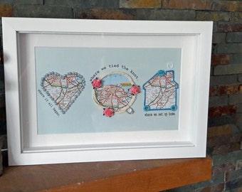 Wedding Anniversary Map Frame, Couple Gift, Wedding Keepsake
