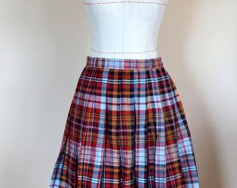 1960s Cotton Collegiate Plaid Box Pleat Skirt