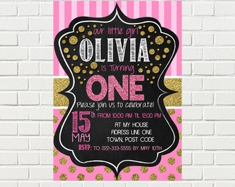 Pink and Gold Birthday Invitation| Polka dot - Stripes 1st Birthday Invite | Gold Glitter Pink  | DIGITAL FILE - PRINTABLE