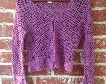 vintage style purple cardigan