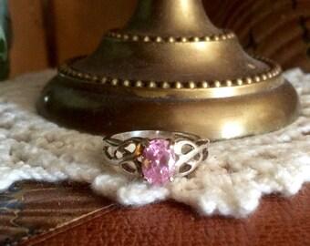 Vintage Pink Tourmaline Sterling Silver Ring