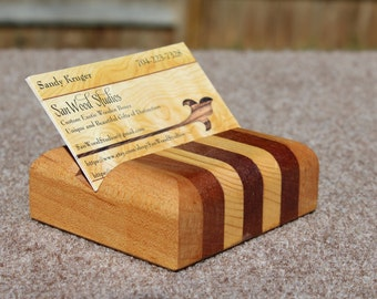 Business Card Holders made from Mahogany and Maple-2 Styles to choose from