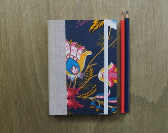 Undated Weekly Agenda with Floral fabric cover in Blue - A6 size / small - Ready to ship