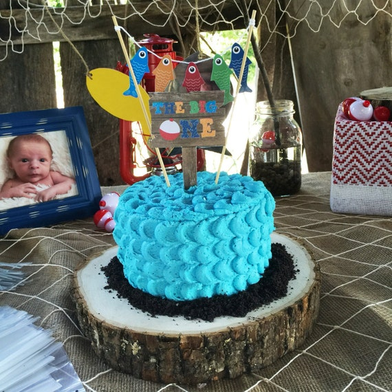 gone fishing birthday cake topper smash cake topper