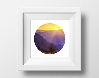 Circle Print Sunset, Nature Photography, Circle Art, Circle Print, Printable Wall Art, Landscape Photography, Modern Wall Art, Print Art