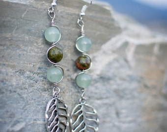 Unakite and Aventurine Earrings