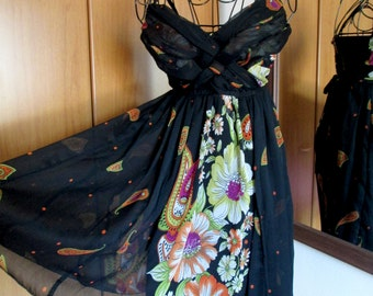 Black background dress and floral motifs