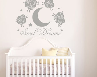 Sweet Dreams Sheep Jumping Over Moon Wall Sticker - Children's Nursery Art Vinyl Decal Transfer - by Rubybloom Designs