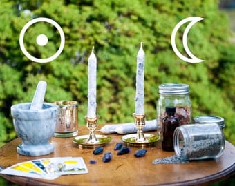 Sun & Moon Wheel of the Year: Midsummer Litha Solstice Hand-Dipped Magic Spell Candles