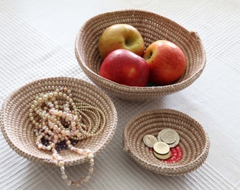 Crochet decorative bowls for the home - set 3 nesting bowls made from 100% cotton